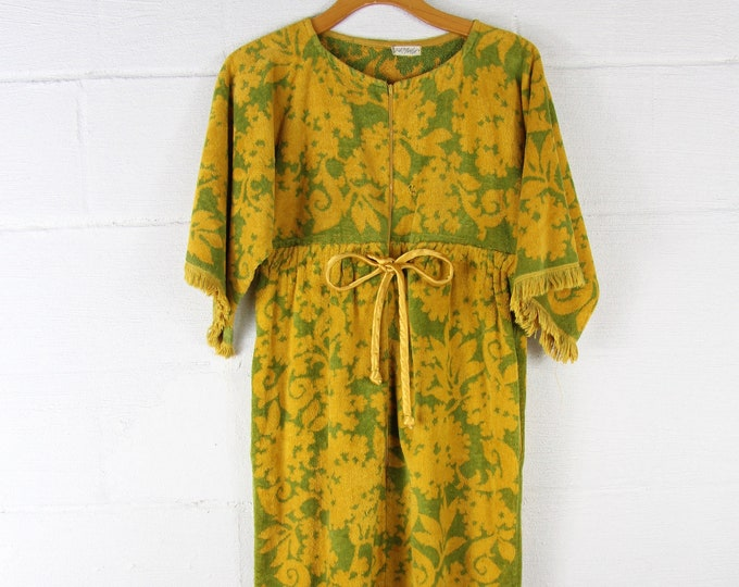 Rare Vintage 50s Lord & Taylor Towel Bathrobe Bath Gown Dress Medium Large Nightgown Olive Green Mustard Yellow Fringe 1950s Made in USA