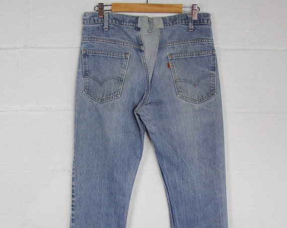 Men's Orange Tab Levi's Bell Bottoms Boot Cut Jeans Denim 70s Vintage Faded Pants 34