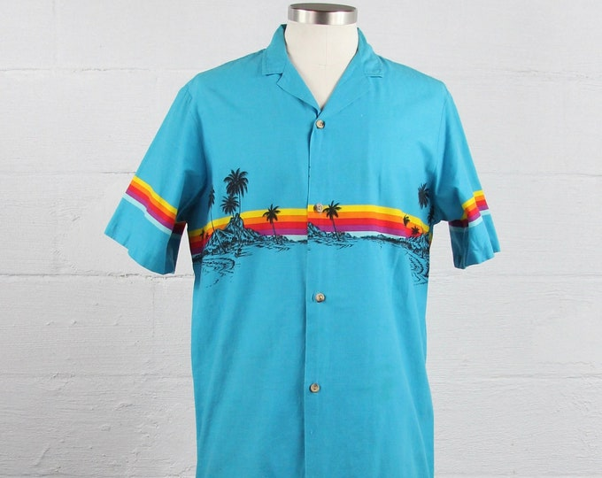 Vintage Rainbow Blue Short Sleeve Hawaiian Surf Shirt Vintage Size Medium