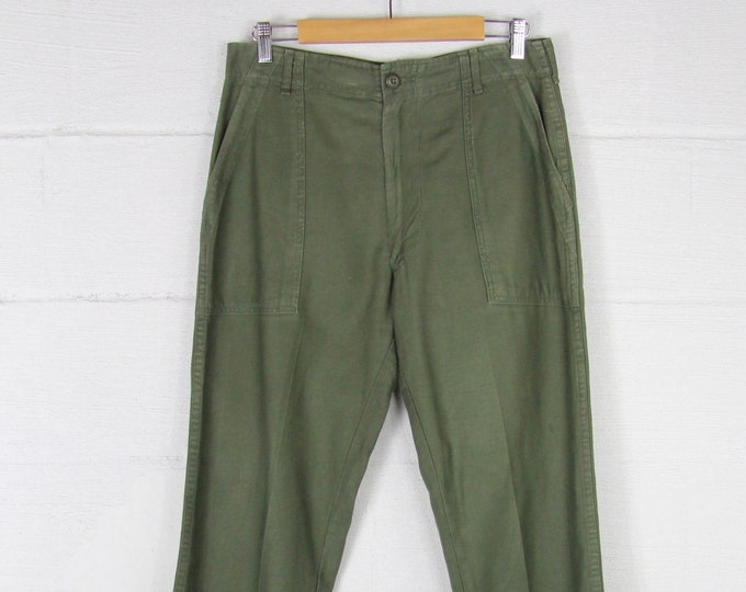 Tapered Military Trousers Army Green Pants 32 Waist