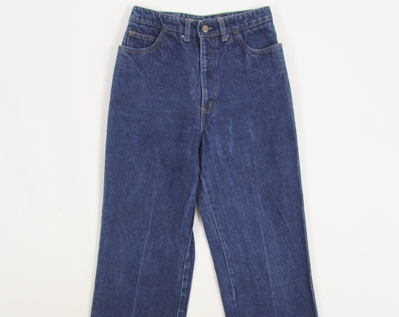 "70's Women's Jeans Vintage High Waisted Dark Wash ""Body Lingo"" Denim Jeans Size 26x29"