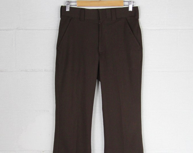 Men's Dark Brown 70's Boot Cut Dress Pants Pinstriped Double Knit Vintage Size 30