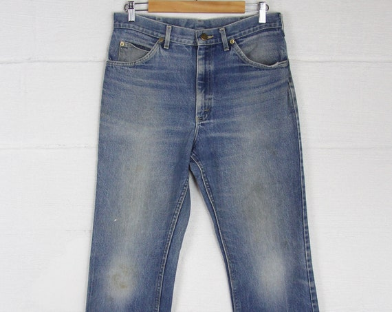 70s Straight Leg Lee Riders Jeans Vintage Faded Thick Denim Jeans 32 x 29.5 29 30