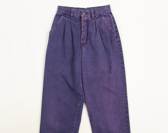 "90's Purple Jeans Women's High Waisted Pleated Tapered Denim Jeans ""Live Ins"" Mom Jeans Vintage Size 25x30.5"