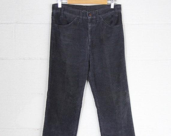 Levi's Navy Blue Corduroy Pants 1970's Straight Leg Vintage Size 32 White Tab