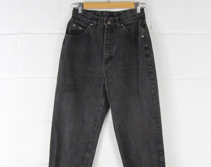 Faded Black High Waisted Vintage Jeans Dark Women's Lee Riders Jeans 26 Waist