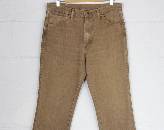 Vintage Wrangler Men's Brown 5 Pocket Jeans Made in the USA Straight Leg Denim Size 34.5 x 30