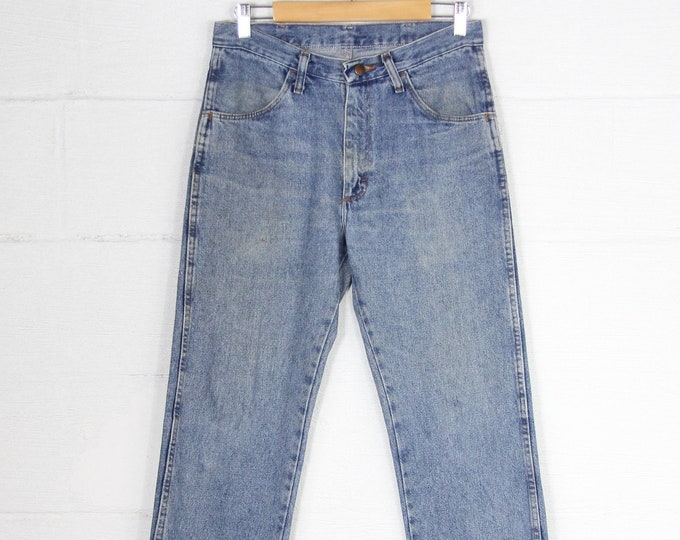 Men's Vintage Rustler Light Wash Jeans Straight Leg Denim Size 31 x 32