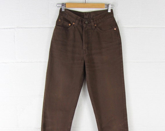 Brown High Waisted Jeans Women's Slim Skinny Levi's Size 5 25 Waist Made in the USA