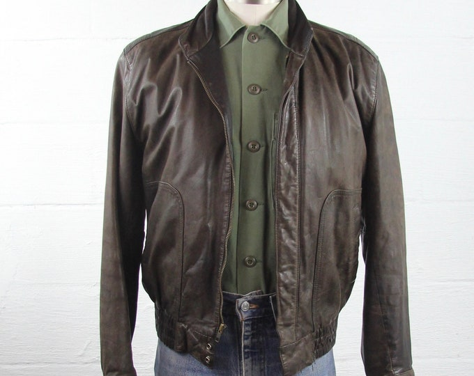 Brown Leather Bomber Jacket with Lining Vintage Size Medium