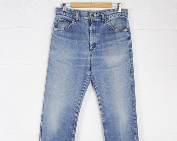 70's Lee Straight Leg Faded Thick Heavy Denim Jeans Size 32 x 30