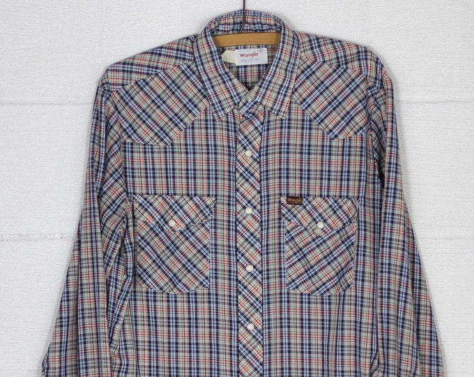 Men's Wrangler Western Plaid Shirt with Pearl Snap Buttons Long Sleeve Soft Cotton Vintage Size Large Made in USA