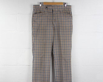 70's Men's Golf Pants Plaid Divoys Blue Brown Green Cream Slacks Size 35