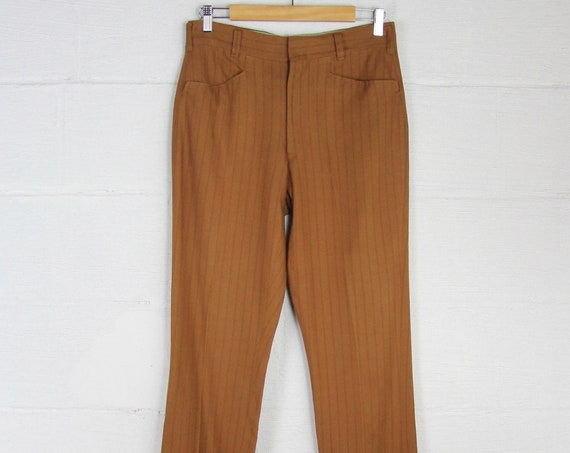 Vintage Men's Vertical Striped Brown 60s Boot Cut Pants  Handmade Jeans Slim Slacks Dress Pants Distressed 31 x 33