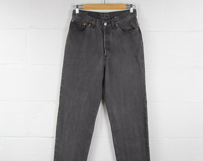 Levi's Vintage Jeans Gray Dark Wash Faded Black Tapered Mom Jeans High Waist Button Fly Size 28""