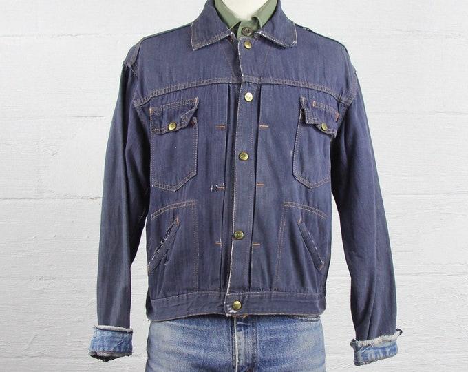 Vintage ELY Jean Jacket Distressed Selvedge Denim Jacket Size M Medium