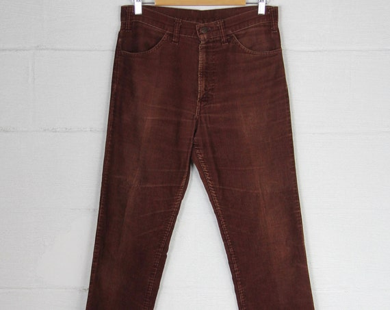 Levi's Maroon Straight Leg 1970's Corduroy Pants Vintage Size 31 White Tab