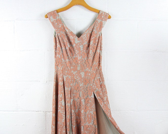 50s Floral Lace Dress with Jacket GORGEOUS Delicate Evening Dress Wedding Dress Vintage Formal Floor Length Gown Small