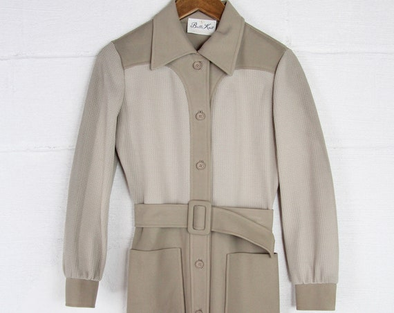 60s 70s Mod Dress Brown Women's Vintage Secretary Poly Long Sleeve Waist Belt Dress Size Small Medium
