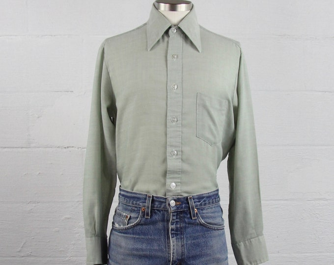 Men's 70s Green JC Penny Long Sleeve Button Down Shirt Size Medium