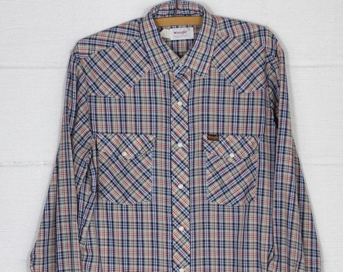 Men's Wrangle Pearl Snap Button Navy Plaid Long Sleeve Western Green Navy Blue Red Shirt Large 70s Made in the USA