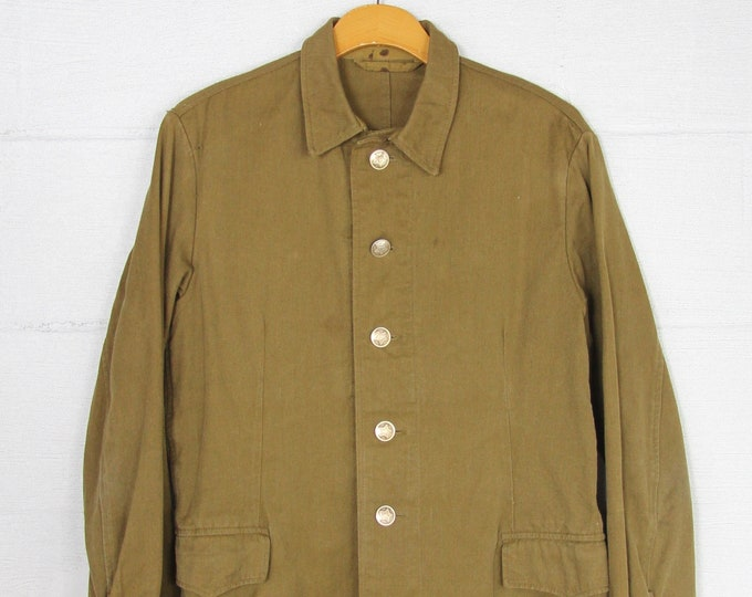 Russian Soviet Military Shirt Canvas Button Up Jacket Vintage Size Medium
