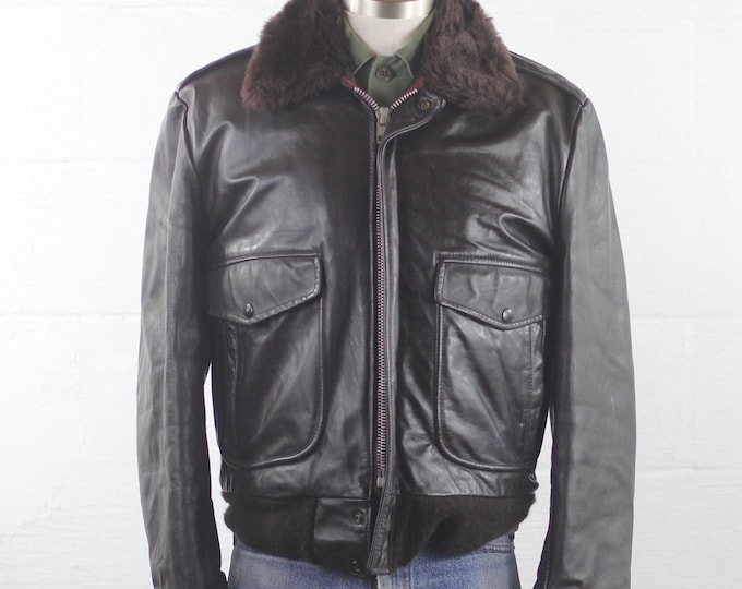 Leather Bomber Jacket Classic Cooper Lined Bomber Jacket Vintage Size Medium