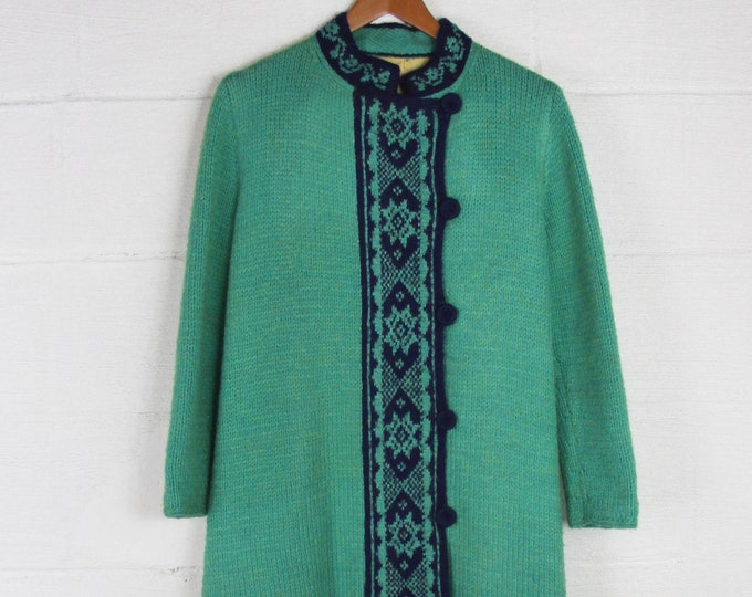 1950's Women's Vintage Wool Coat Dress Green and Blue Size Medium