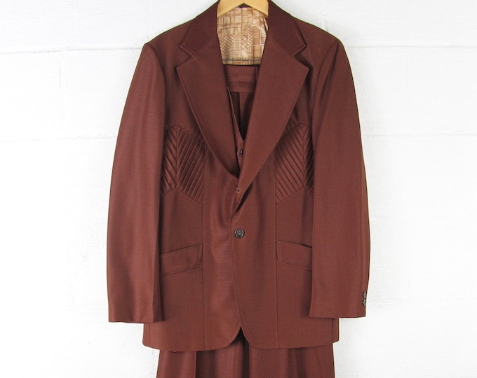 Men's 70's Polyester 3 Piece Suit with Vest, Bell Bottoms, and Sport Coat Vintage Size Large