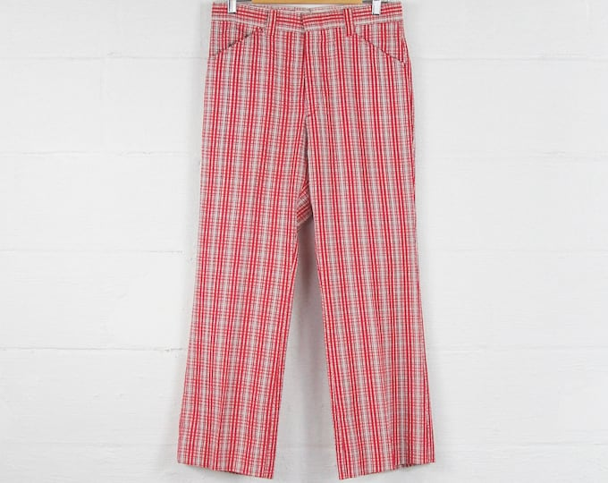 Plaid Men's Pants Red White Cotton Mens's Boot Cut 70's Flares 31 x 28