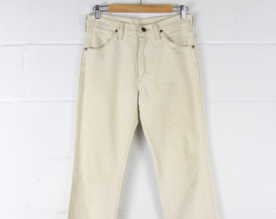 70s Cream Boot Cut Wrangler Jeans Grunge White Denim Pants Made in the USA