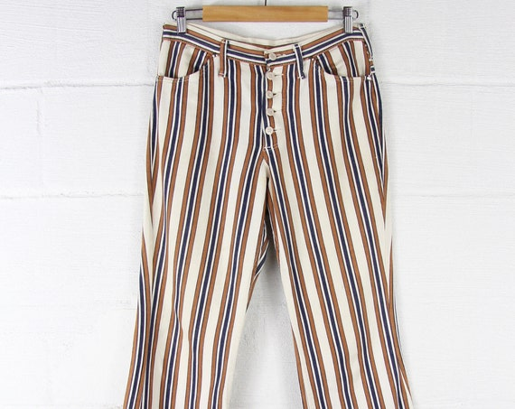 RARE 70s Striped Maverick Jeans Bellbottoms Men's Vintage Seventies Striped Pants with exposed Buttons