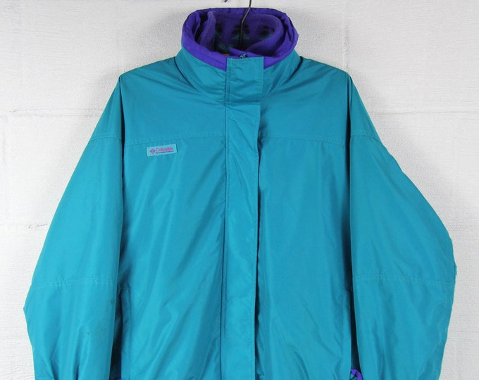 Women's Columbia Ski Jacket Fleece Teal Purple Vintage Size Large XL