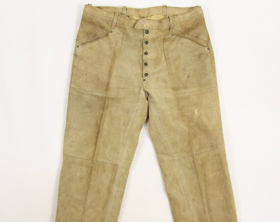 60's Suede Leather Pants Men's Vintage Motorcycle Hippie Pants Button Fly Vintage Size 36x27.25