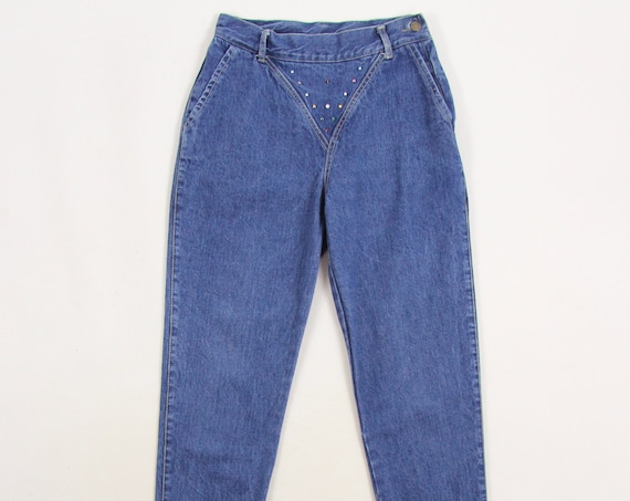 80's Women's Jeans High Waisted Side Zip Bejeweled Jeans by La Cetch Vintage Size 26.5x26.5