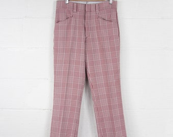 70's Plaid Polyester Men's Pants Vintage Size 31x28
