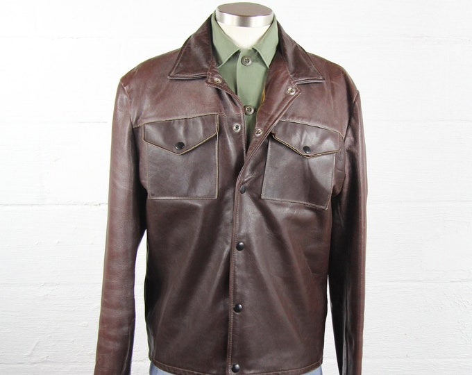 Brown Leather Mod Hippie Jacket Men's Vintage Medium