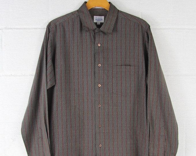 90's Men's Maroon Striped Button Down Shirt Vintage Size Medium M
