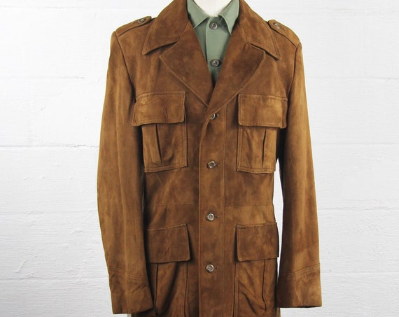 Men's 70's Suede Leather Jacket 4 Pocket Coat Size Medium