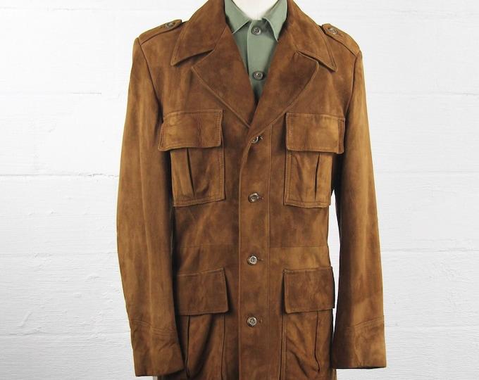 Men's 70's Suede Leather Jacket 4 Pocket Coat Size Medium