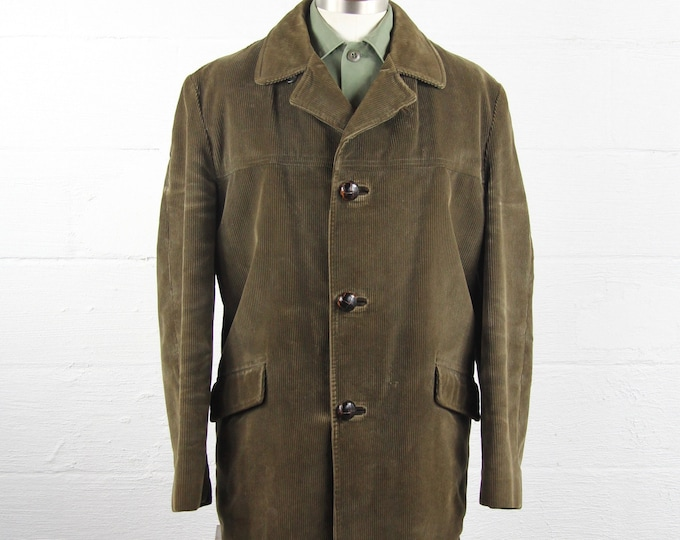 Men's Corduroy Green Winter Jacket with Lining Vintage Size Large