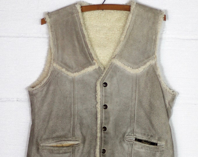 Gray Suede Faux Sherpa Lined Vintage Sears Snap Button Vest Medium Large