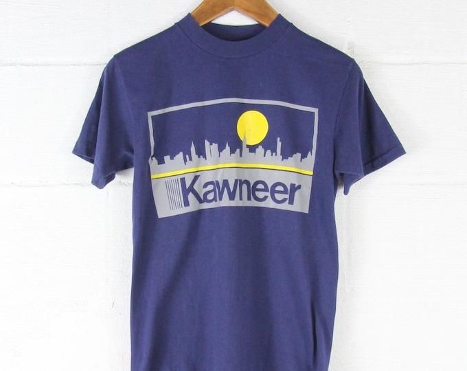 Vintage Thin Worn Blue T-Shirt Kawneer Tee Shirt Vintage Logo Size Medium