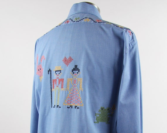 Chambray Men's Shirt with Embroidery Handmade Vintage Size Medium Large