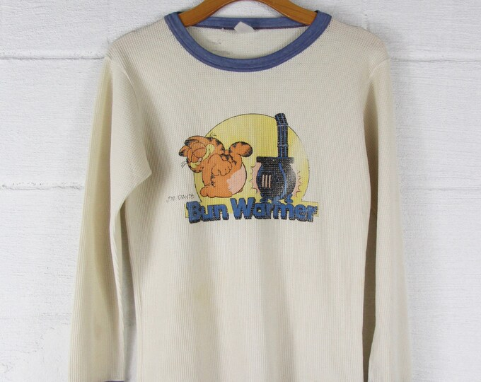70's Garfield Cartoon Vintage Thermal Ringer Long Sleeve Tee Shirt Size Small