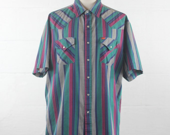 Men's Western Striped Shirt Short Sleeve 90s Ely Short Sleeve Button Down Vintage Size XL