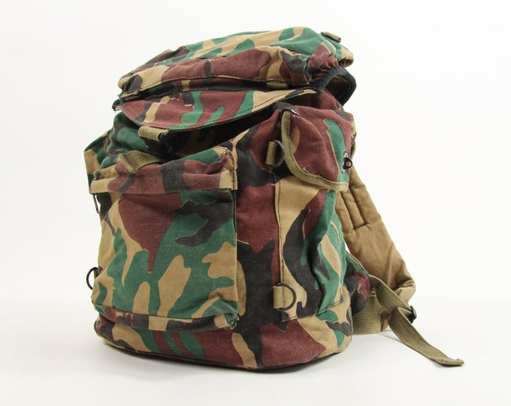 Camouflage Back Pack Camping Book Bag Army Vintage Backpacking Bag