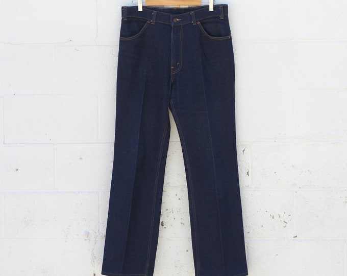 Levi's Orange Tab 70s Dark Wash Thick Boot Cut Cotton Denim Jeans Size 36 x 32 Made in USA