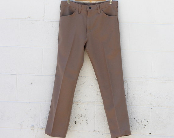 Wangler Men's Boot Cut Western Pants 34 x 29 Light Brown Khaki Beige Dress Pants Trousers Made in USA