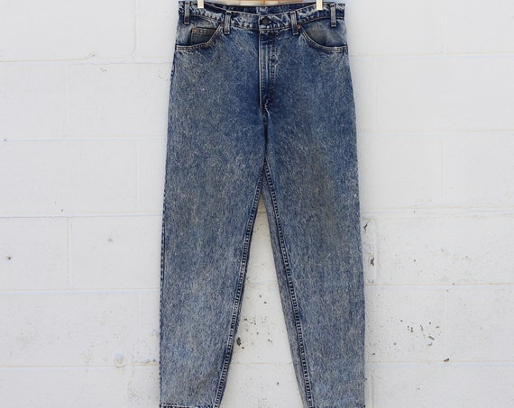 Levi's Orange Tab Women's 550 Acid Wash Stone Wash 80s Denim Jeans Made in USA